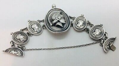 Antique Victorian Sterling Silver Rare Medallion Bracelet