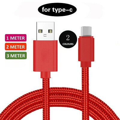 Heavyduty Braided Long Braided Charge USB C Type C Data 1M RED Charger Cable