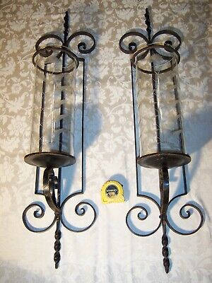 Large Pair Vintage Wrought Architectural Candle Wall Sconces Cut Glass Shades