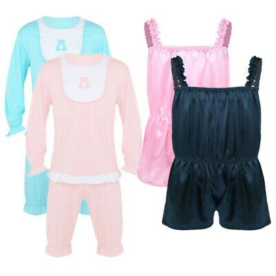 Men Sissy Pajamas Set Pyjamas Shiny Frilly Satin Romper Fancy Dress Short Pants