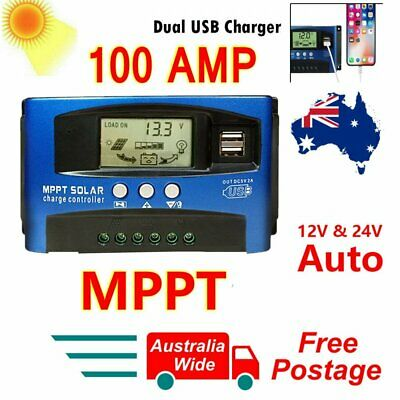 100A AMP MPPT Solar Panel Regulator Charge Controller 12V/24V Auto LCD Dual USB