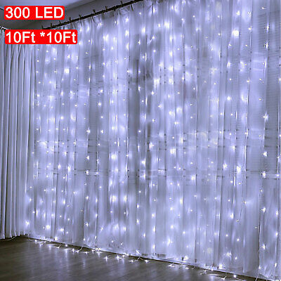 10FT 300 LED Party Wedding Curtain Fairy Lights USB String Light  Remote Control