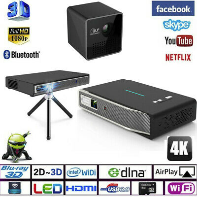 Wireless Android Smart Projector V5 Home Theater 3D DLP-HD/1080P/4K HDMI New Lot