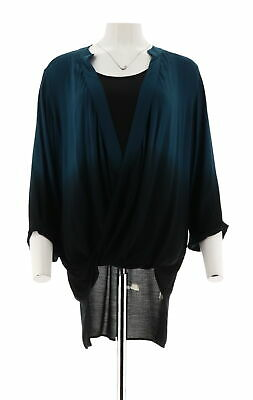 Lisa Rinna Collection Dip Dye Crossover Top Tank Top Peacock Blue 2X # A299568