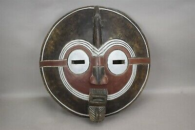 African Tribal Wood Carved Mask Moon Face White Red Brown Wall Hanging Round 18""