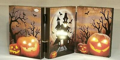 Halloween Pumpkin Spooky Haunted House Table Wall Decor Picture Light Up 8x18""