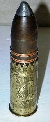 WWI or WWII TRENCH-ART ETCHED BRASS ARTILLERY INERT PROJECTILE SHELL ROUND SHOT