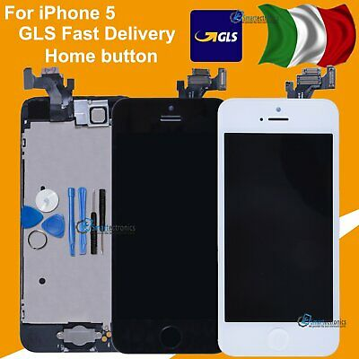 Touch Screen Lcd Display Per Iphone 5 5G Schermo Bianco Nero + Frame Home Button