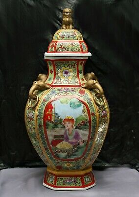Fantastic Totally Hand Painted Enormous Chinese Porcelain Lidded Pot Stamped
