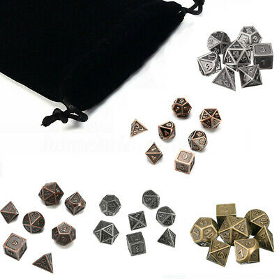 7PCS Polyhedral Metal Dice for dnd d&d MTG Gaming lot sided Role Playing W/ Bag