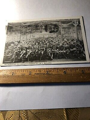 VINTAGE 1916 Soldiers Seated In Knights of Columbus Building WWI POSTCARD