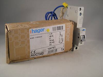 Hager RCBO 40 Amp 30mA Type C 40A 106761 C40 ADC Range ADC140 NEW