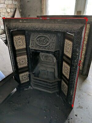Antique Vintage Cast Iron Fireplace Surround London Original Victorian Tiles
