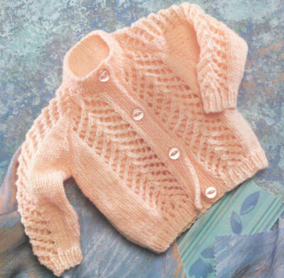 BABY Knitting Pattern copy CARDIGAN 8 Ply Premmie Size Included