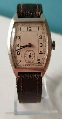 Art Deco mens wristwatch sub dial silver hallmarked Edinburgh Swiss movement