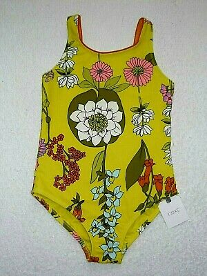 BNWT NEXT Girls Bright Yellow Floral Swimming Costume Swimsuit 4-5 yr 110cm
