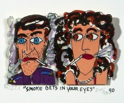 """James Rizzi """"SMOKE GETS IN YOUR EYES"""" 3D-Konstr. v.1990"""
