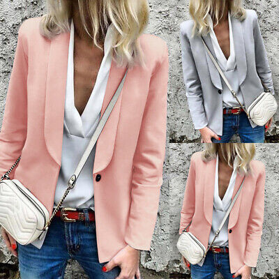 Women Ladies Long Sleeve Slim Blazer Suit Coat Work Jacket Casual Tops Size 8-26