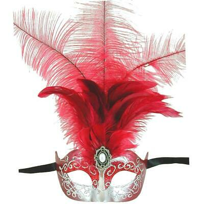 Red And Silver Princess Feathered Venetian Masquerade Mask