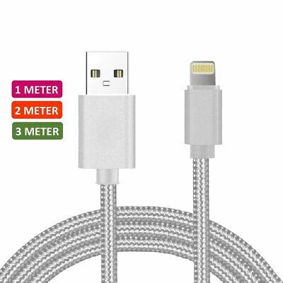 Heavy Duty Metal Braided Lightning USB Charger Cable 1M For iPhone X XS 8 7 6 5S