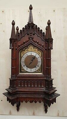 Antique Gothic Carved Oak W&H  Bracket Clock and wall bracket