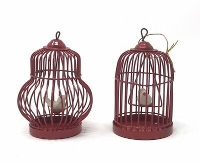 """Vintage Red Metal Birdcage Ornaments With Swinging Bird 2.5"""" Tall Pair Of 2"""
