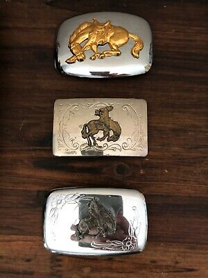 Vintage Western Metal Belt Buckle Horse Head Cowboy Horses Made In USA 1970s?