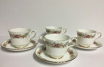 "8 Piece Vtg Royal Stafford Bone China ""Love Story"" (4) Cup & Saucers ~Gold Trim"