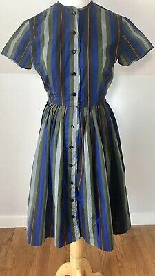 Vintage  50s Striped Summer Day Dress Imported Cotton Bobbie Brooks Small