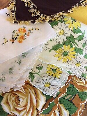 Lot of 6 Vintage Ladies Hankies~DAISY~ROSE Florals~Tatted Edge~Embroidery