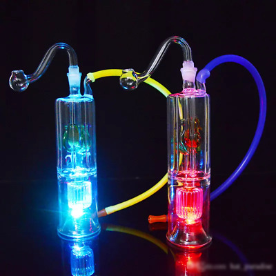 LED Light-Up Mini Hookah/Water Pipe with Flower Diffuser 5""