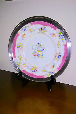 Antique Minton Isis Pink Plate, Hand Painted Porcelain, Sterling Silver Rim,1912
