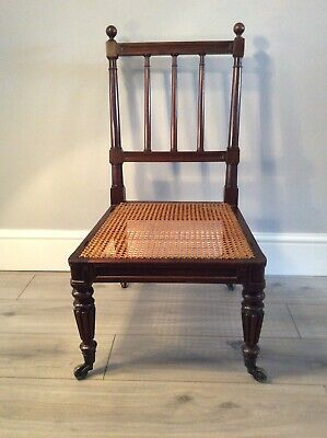 Antique William Iv Mahogany Caned Bergere Library  Chair