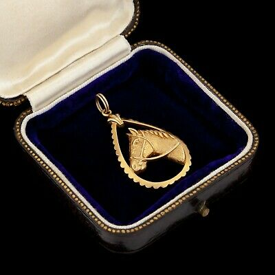 Antique Vintage Art Deco Style 14k Yellow Gold Equestrian Horse Necklace Pendant