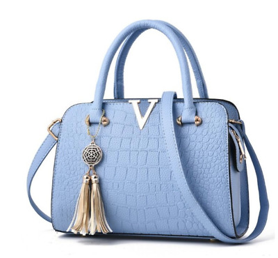 Luxury Sky Blue Vegan Leather Handbag V Detail Purse Tote Bag Tassel Charm strap