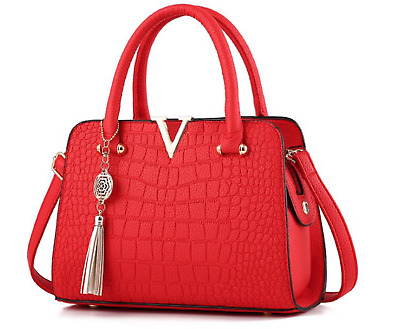 Luxury Ferrari Red & Gold Vegan Leather Handbag V Detail Purse Tote Bag Tassel