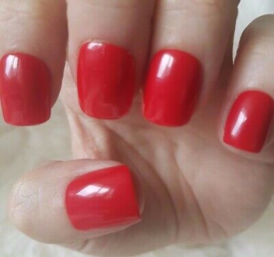 Hand Painted Red False Nails. 20 Short Square Press-on Nails. Glossy.