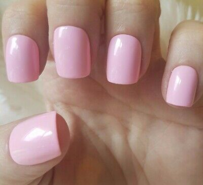 Hand Painted Light Pink False Nails. 20 Short Square Press-on Nails. Glossy.
