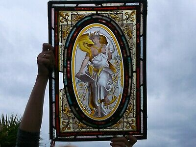 Stunning Early Stained Glass Window Large Size Hand Painted Rare Quality Piece