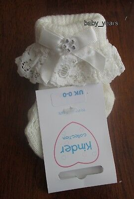 Baby Girls Ivory Frilly Ankle Socks Lace Frill Diamante Bow Christening Wedding
