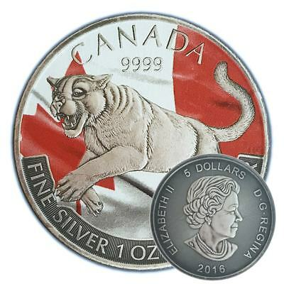 COUGAR- 2016 1 oz Canadian Silver Coin with Capsule - Color & Antique