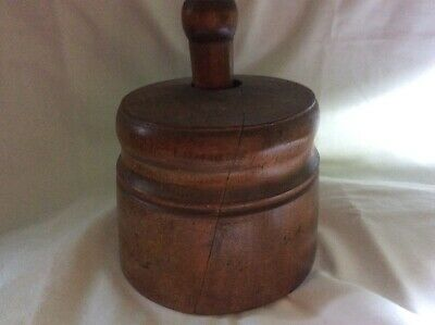 butter stamp mold wood carved wheat large press antique original