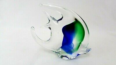 Art Glass Clear Angelfish V Nason  Murano? Italy Fish Figurine Paperweight  EUC
