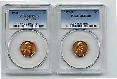 1970-S Large Date/1972-S Lincoln Memorial Cents (MS65RD) PCGS 2 Coins