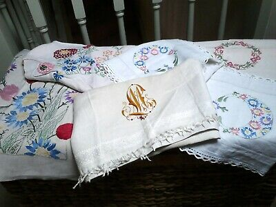 Job Lot 5 Vintage Embroidered Cushion Chair Backs Runner Panel Crafts