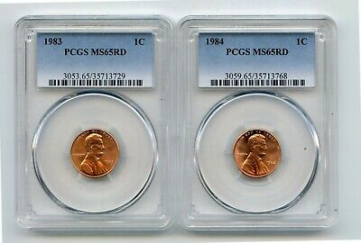 1983/1984 Lincoln Memorial Cents (MS65RD) PCGS 2 Coins