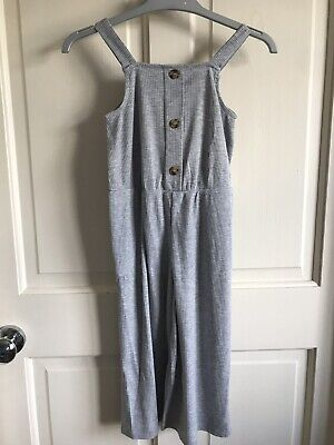 BNWOT Matalan Jumpsuit/ Playsuit. Girls. Age 6 - 8 Years. Grey. Button Feature