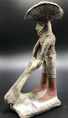 Folk Antique Figurine South Native American Story Teller Clay Sculpture Pottery