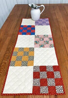 Country PA Vintage Checkerboard QUILT Table Runner 40 x 16 RED Blue