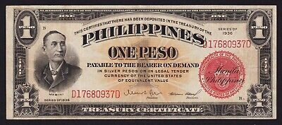 Philippines 1 Piso Banknote 1936 P-81 Treasury Certificate Philippine Islands